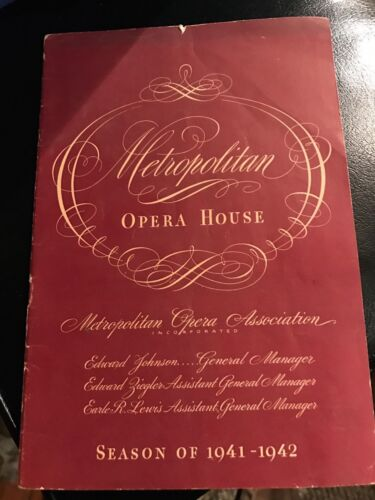 PROGRAM MET. OPERA HOUSE 1942 UN BALLO IN MASCHERA