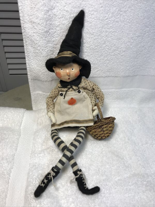 Lori Mitchell Witch Girl Doll Figure Halloween decor Holiday 16""