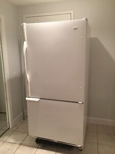 Kenmore fridge with bottom freezer.