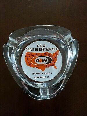 vintage A&W DRIVE IN RESTAURANT ROOT BEER ACL color painted ashtray IOWA FALLS