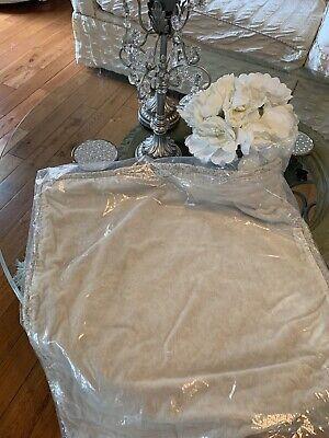 """Pottery Barn Velvet Fringe Pillow Cover 22"""" Square SAND New In Package"""