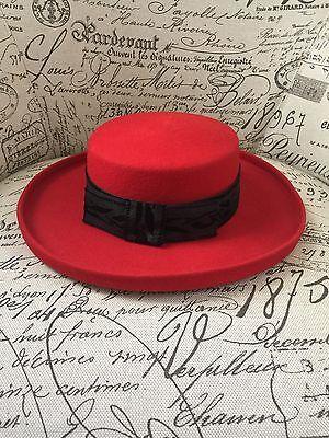 VTG Womens Geo. W. Bollman & Co 100% Red Wool Felt Hat Made USA Red Hat Society