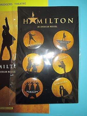 NEW Hamilton Broadway Musical Set of Six Pin-Back Buttons Lin Manuel Miranda
