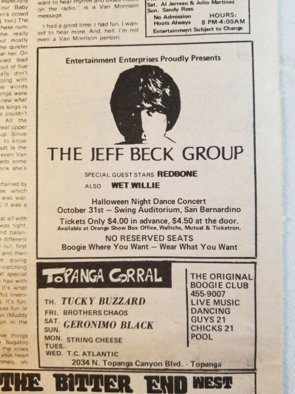 Vintage Ad Jeff Beck Seals & Croft Geronimo Black 1971 LA FREE PRESS Unframed