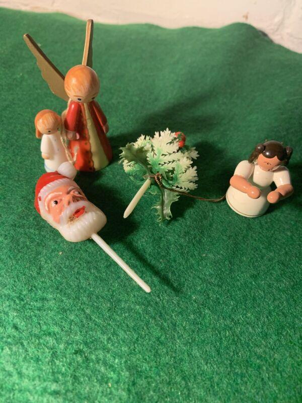 VINTAGE LOT OF 4 TINY CHRISTMAS ANGELS, SANTA AND CHRISTMAS TREE 1950