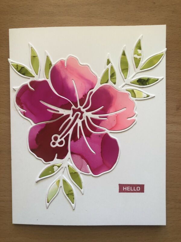 Handmade Card, Hibiscus, Hello, Alcohol Inks
