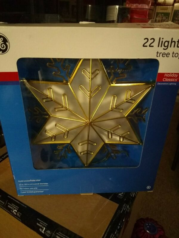 GE Lighted Tree Top 22 Lights Holiday Classics Gold Star