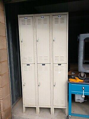 6 Locker Metal School Gym Storage Employee Lockers Cabinets Locker Harwell Cream