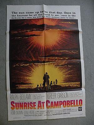 Sunrise at Campobello Ralph Bellamy 1960 27X41 originial movie poster #60/248