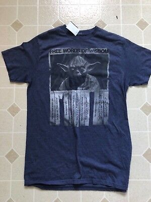 Star Sayings (Star Wars Mens Size Medium Blue Yoda Wise Sayings Official T Shirt Funny)