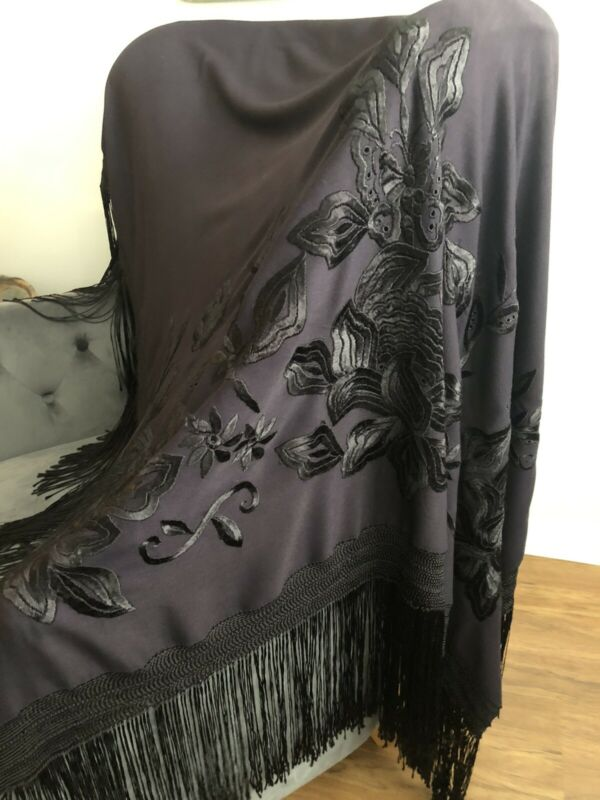 Antique Hand Embroidered Piano Scarf Shawl Black On Black Mourning GORGEOUS!!!