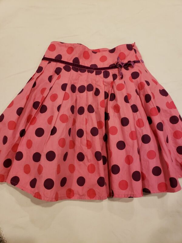Mini Boden Girls Size 4-5y Pink Pleated Purple and Red Polka Dot Circle Skirt