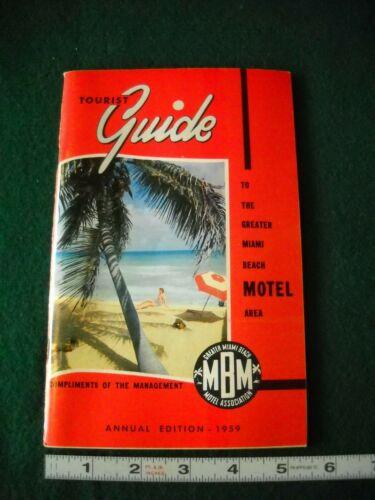 VINTAGE TOURIST GUIDE TO GREATER MIAMI BEACH MOTEL AREA 1959 MCM FLORIDA RETRO