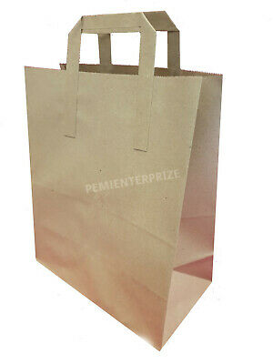 250 MEDIUM BROWN KRAFT PAPER SOS FOOD CARRIER BAGS WITH HANDLES PARTY TAKEAWAY