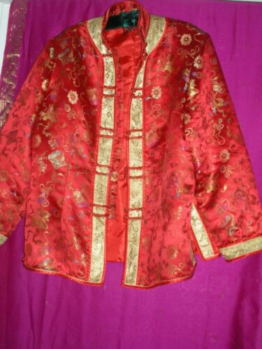 CHINESE, VINTAGE RED JACKET W/ GOLD COLORED DESIGNS, SZ. M/L, PREOWNED