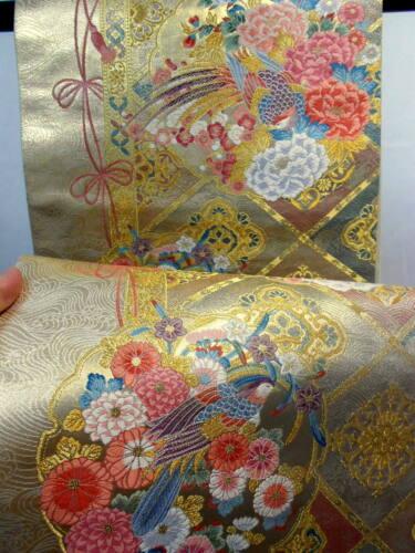 "Japanese Kimono SILK Fukuro OBI, Rokutu ,Pure gold, Flower & Birds, L170""..1823"