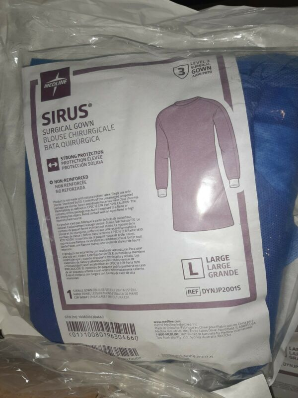 Medline Sirus Surgical Gown Large Box Of 20 Sealed Non-Reinforced level 3
