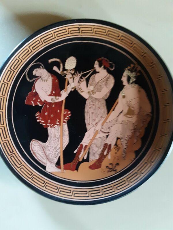 Vintage D. Vassilopoulos Handmade Decorative Plate- Maenads Dancing- Greece