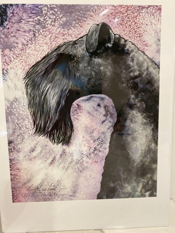 Kerry Blue Terrier Ltd Ed Signed 11x14 Print By Van Loan