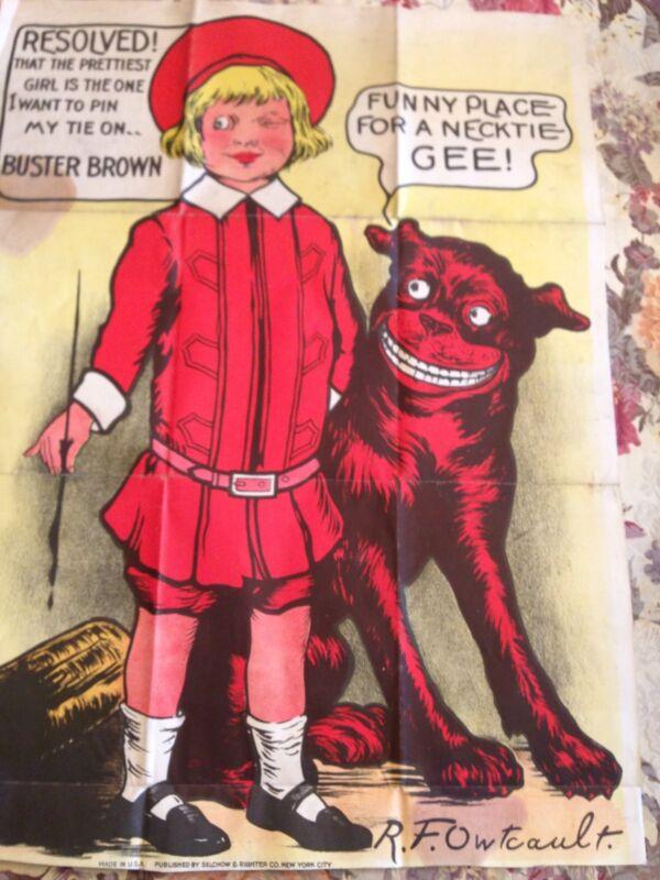 Vintage Buster Brown Cloth Poster Tie Game Advertising Dog Tige USA Owlcault