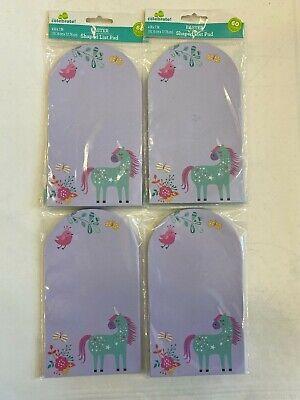 Lot Of 4 Unicorn Themed Sticky Notes Pads Teacher Supply Butterflies Birdie