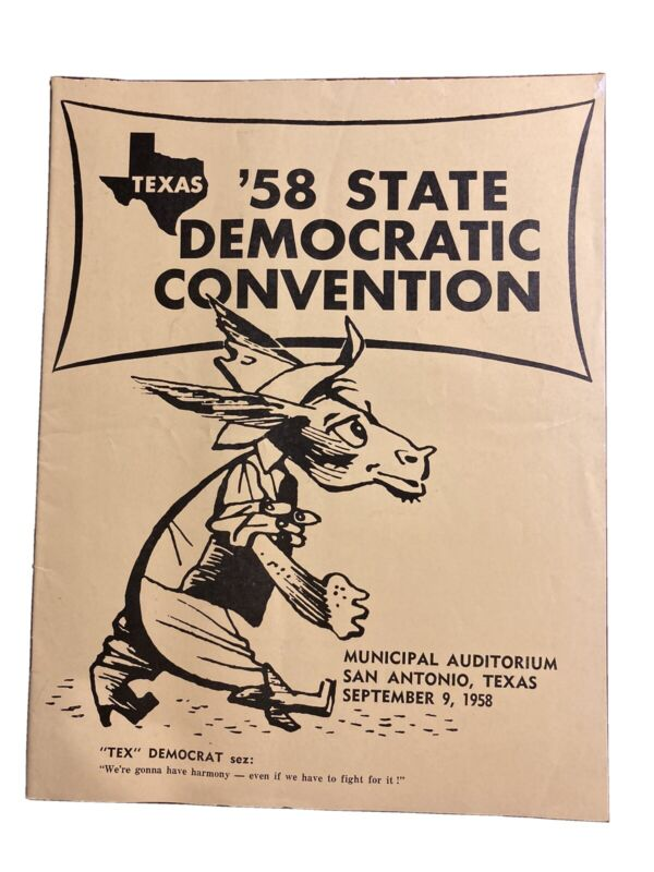 Texas 1958 State Democratic Convention Program Municipal Aud. San Antonio Texas