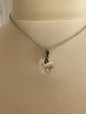 925 Silver  Crystal Clear Butterfly Necklace Pendant for sale  Shipping to South Africa