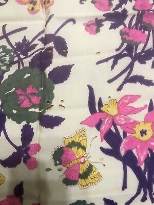Silk 1920's Chineese Floral Fabric Lillie's Butterflies Yardage Art Deco 80""