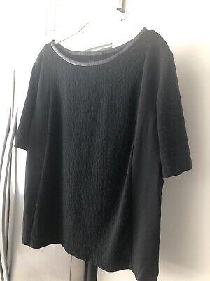 Ann Taylor Loft Animal Print Top Blouse Shirt Size XL Black Leopard Leather Trim