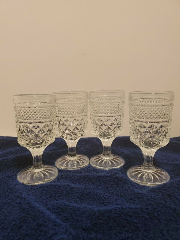 "Wexford Wine Juice Goblets Set of 4 Clear 5.5 oz 5-3/8"" Anchor Hocking Glass"