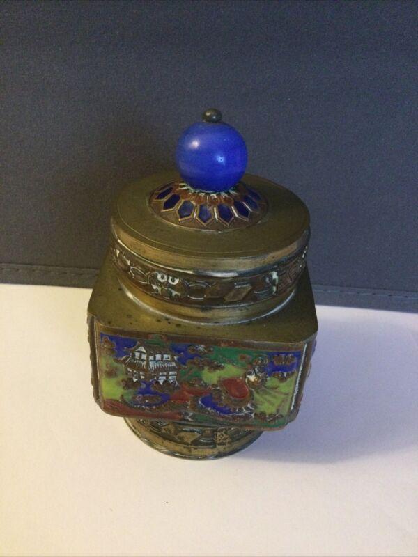 Vintage ORIENTAL TEA CADDY Brass with ENAMEL PANELS on each side Texture
