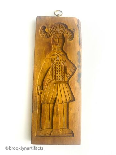 Antique Carved Wood Figural Man & Woman Two Sided Cookie / Cake Mold Board