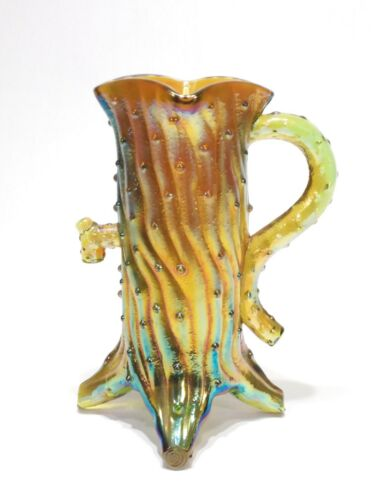 Carnival Glass Robert Hansen signed Town Pump pitcher RARE