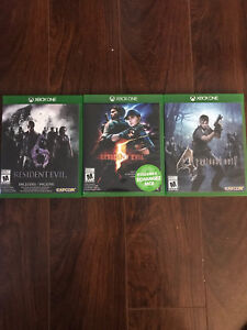 Xbox One jeux Resident Evil 4 - 5 - 6 ,      $15.00/ch.
