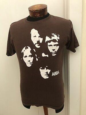 ABBA Vintage Official  Polar Music International DARK BROWN T-Shirt men's size S