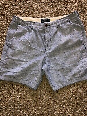 mens abercrombie and fitch shorts-navy blue and white pin striped-size 32.