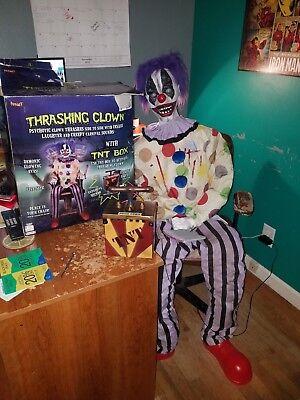 Retired Spirit Halloween Thrashing Clown w/ TNT Box, Animatronic Life Size Prop - Spirit Halloween Animatronics Box