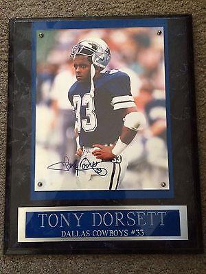 TONY DORSETT AUTOGRAPH SIGNED 12x15 PLAQUE DALLAS COWBOYS FOOTBALL