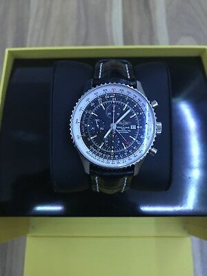 Used Breitling Navitimer World GMT A24322 on Black Croc Strap w/ Box & Papers