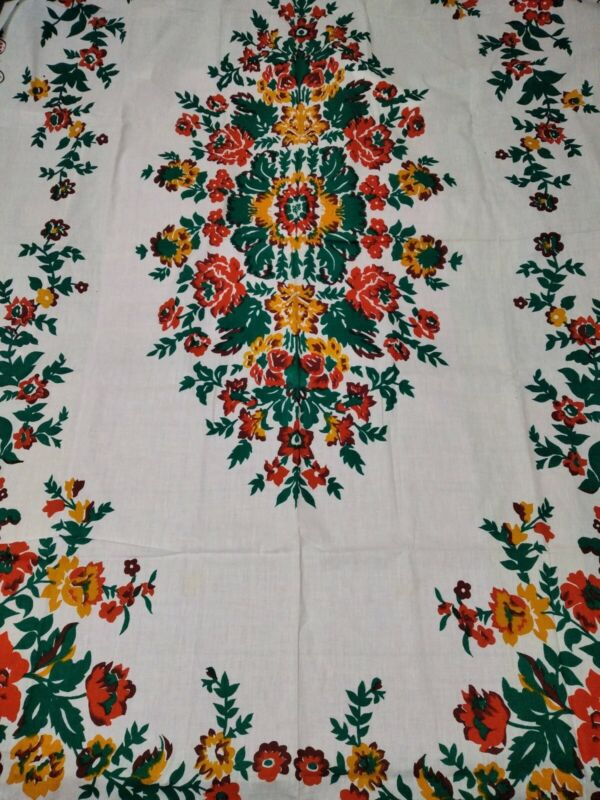 Vintage handmade tablecloth cotton fabric, printed pattern  1970s USSR