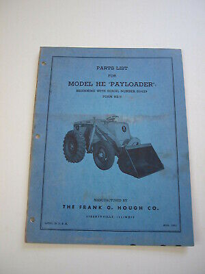 Ih Hough He Front-end Wheel Pay Loader Tractor Parts Catalog Manual List