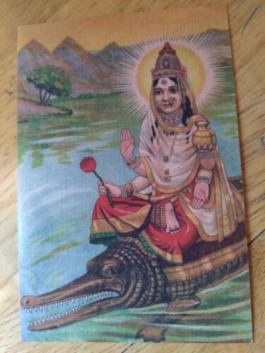 "🌺MAGICAL PRINT GANGA MA HINDU GODDESS HOLY GANGES RIVER 4"" x 6"" VINTAGE IMAGE🌺"