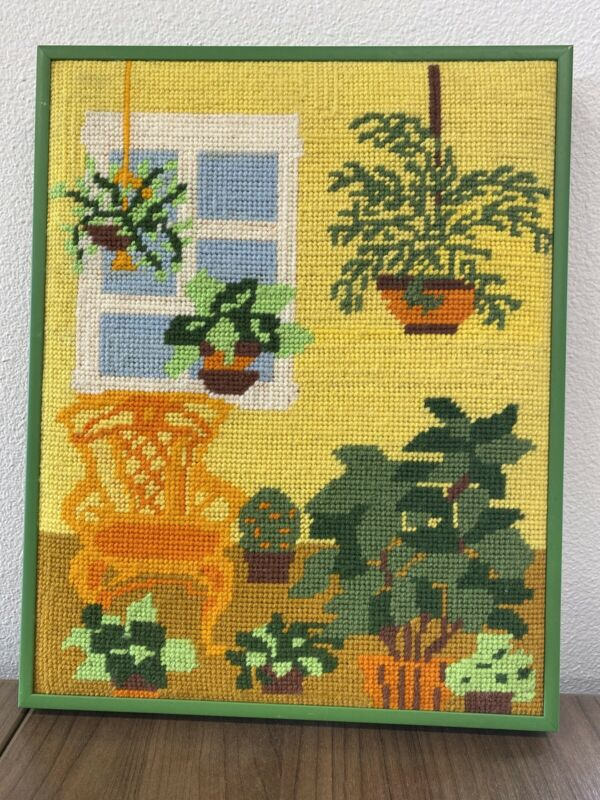 Vintage 1970s Retro Modern Framed Needlepoint Tapestry House Plants 11x14