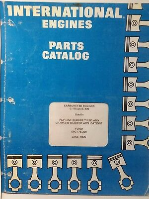International Harvester Ih Tractor Crawler C-175 C-200 Engine Parts Manual Epc-