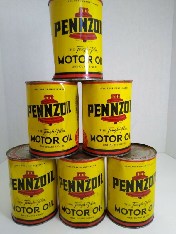 PENNZOIL THE TOUGH-FILM 1 QT. METAL OIL CAN. Full metal can. Lot of 6.