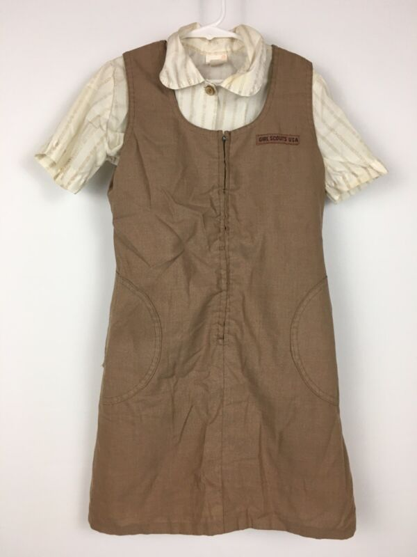 Vintage Official Girl Scouts USA Dress w/Shirt Blouse Uniform Brown Size 10