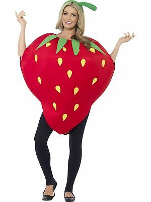Strawberry Fruit Ladies Fancy Dress Costume Party Outfit Adult Funny Garden Red (Fruit Lady Costume)