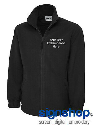 Custom Embroidered Full Zip Micro Fleece Jacket Unisex Custom Text Uneek UX