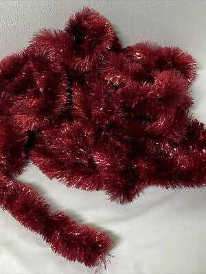 Vintage Christmas Tree Tinsel Garland Shiny Sparkly Red  75 ft Three pieces