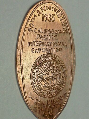1935 40TH ANNIV. CALIF PACIFIC INTER EXPO 1975-Elongated / Pressed Penny J-599